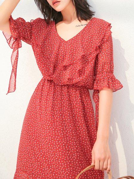 Red Paneled Casual Polka Dots Midi Dress