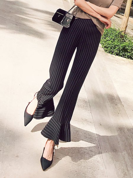 Black Casual Stripes Printed Flared Pants
