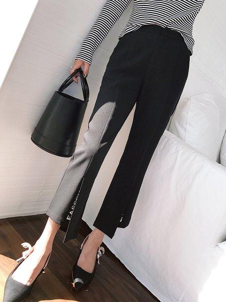Black Casual Pockets Flared Pants