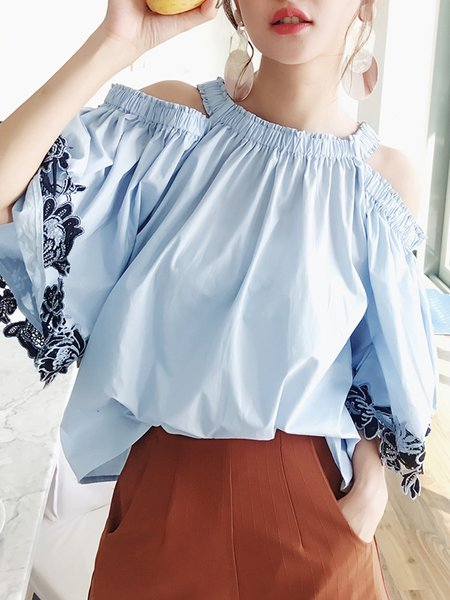 Blue Cold Shoulder Solid Casual Cotton Blouse
