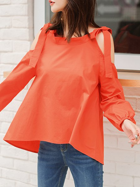 Orange Bow Long Sleeve Solid Cold Shoulder Blouse