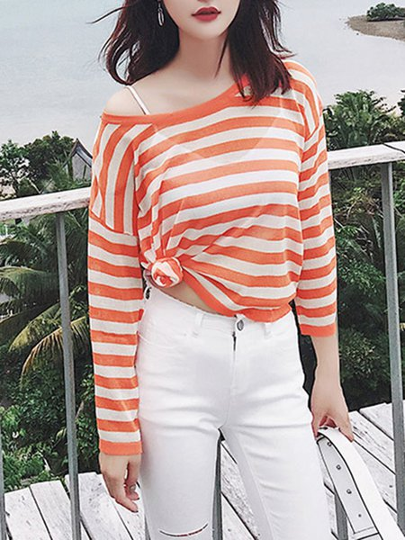 Long Sleeve Stripes Casual Blouse