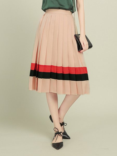 Nude Pleated Casual Midi Skirt