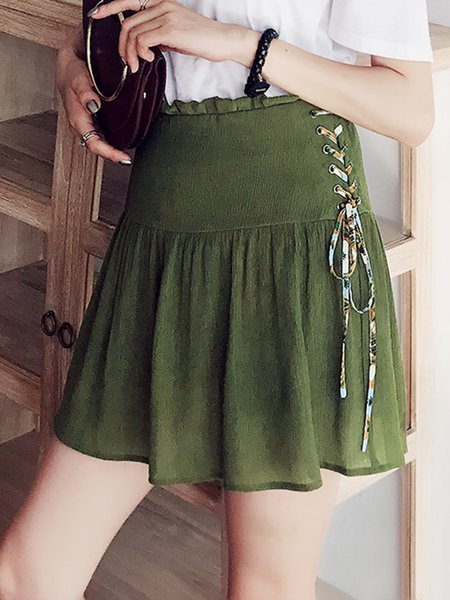 Army Green Lace Up Casual Mini Skirt