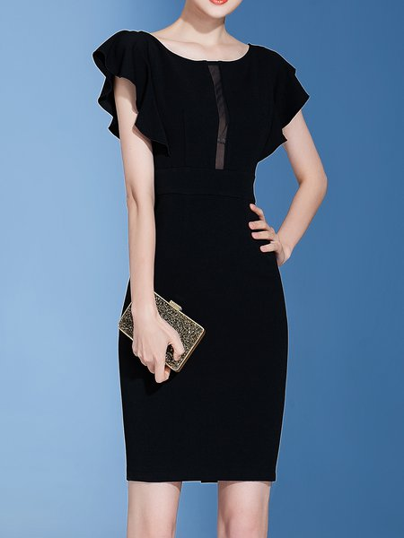 Black Solid Frill Sleeve See-through Look boat Neck Midi Dress