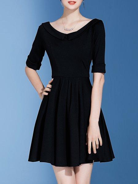 Peter Pan Collar Solid Simple Half Sleeve Midi Dress