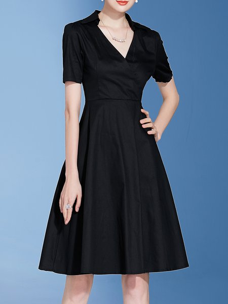Black V Neck Short Sleeve Solid A-line Midi Dress