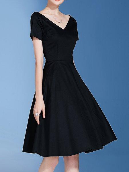 Black V Neck Simple Spandex Midi Dress