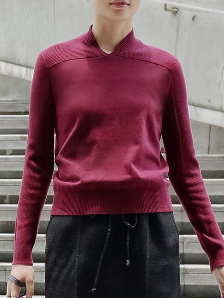 Knitted Cotton-blend Solid Long Sleeve Simple Sweater