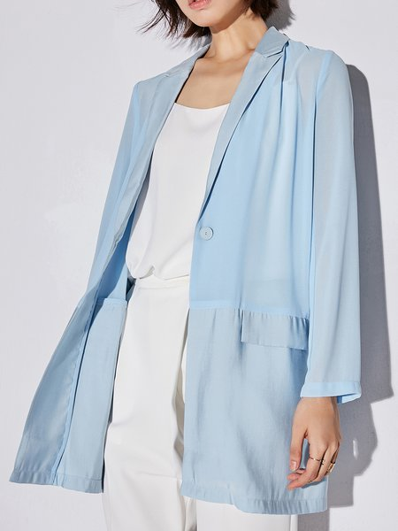 H-line Long Sleeve Lapel Polyester Blazer