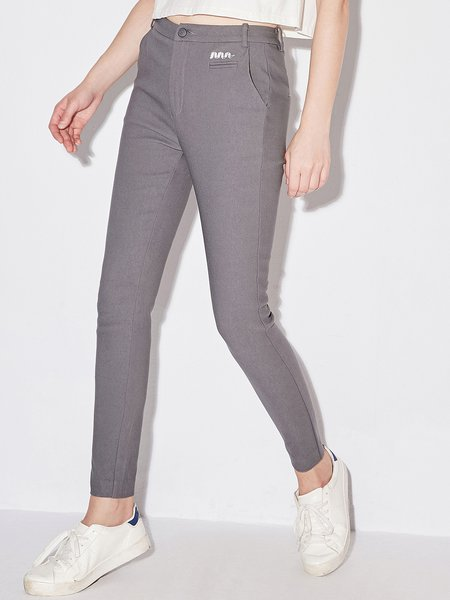 Deep Gray Simple Nylon Embroidered Solid Skinny Leg Pant