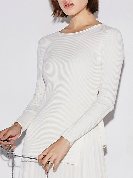 Cotton-blend  Nylon Simple Long Sleeve Nylon Slit Sweater
