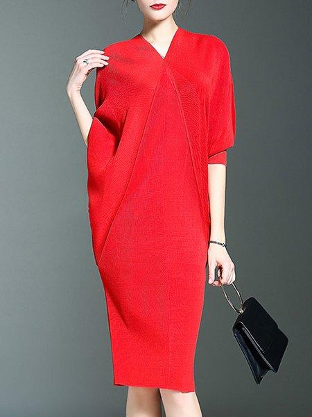 Solid Elegant Batwing Asymmetric Midi Dress