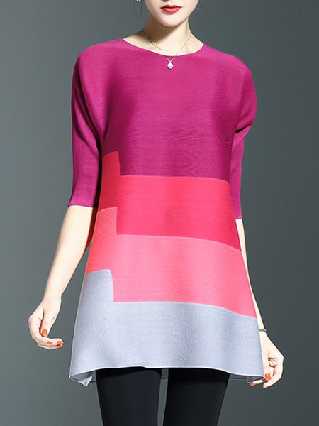 Color-block Ombre/Tie-Dye Casual Tunic