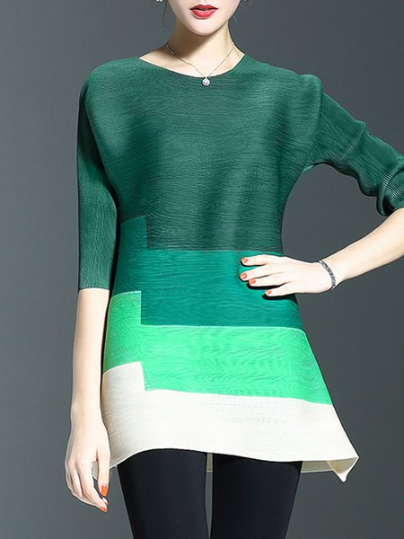 Green Casual Color-block Shift Crew Neck Tunic