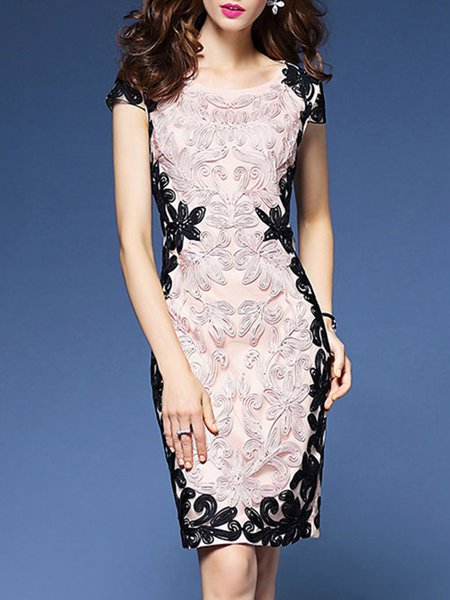 Crew Neck Sheath Elegant Appliqued Midi Dress