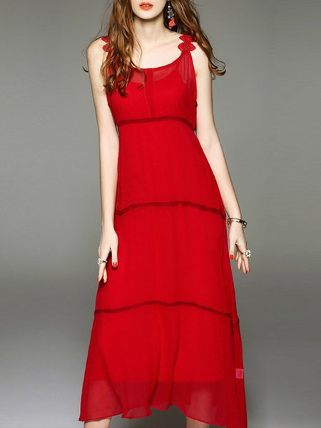 Spaghetti  Maxi Dress A-line Daytime Sleeveless Solid Dress