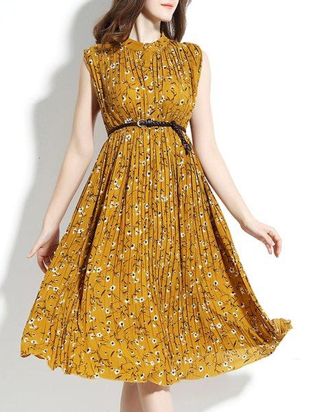 Yellow Floral-print A-line Cotton Sleeveless Midi Dress