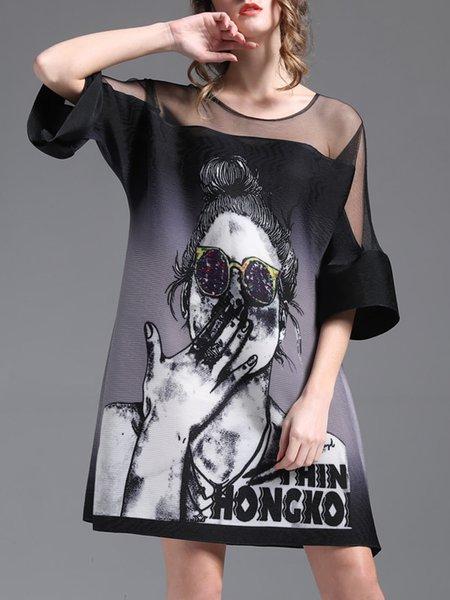 Printed See-through Look Black Casual Shift  Paneled Mini Dress