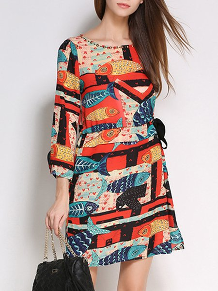 Bateau/boat Neck Casual 3/4 Sleeve H-line Printed Boho Dress