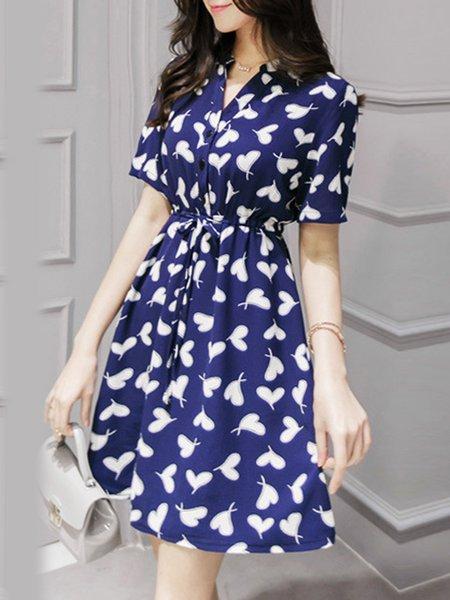 V Neck A-line Girly Printed Short Sleeve Mini Dress