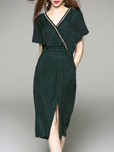 Dark Green Casual Cupro Surplice Neck Stripes Midi Dress