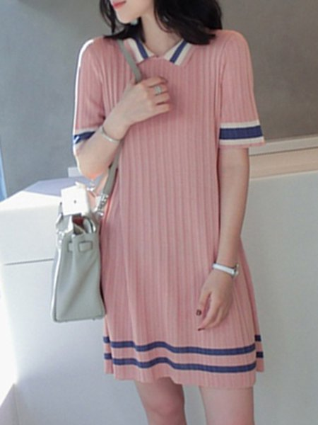 Knitted Half Sleeve Casual Sweater Dress