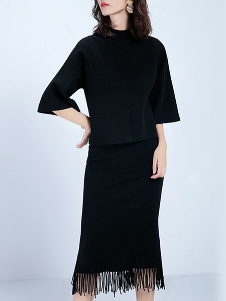 Knitted Black Two Piece Slit Stand Collar 3/4 Sleeve Midi Dress