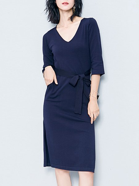 Knitted Slit 3/4 Sleeve H-line Solid Bow Midi Dress
