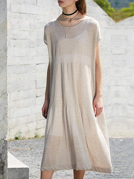 Solid Short Sleeve Knitted Midi Dress