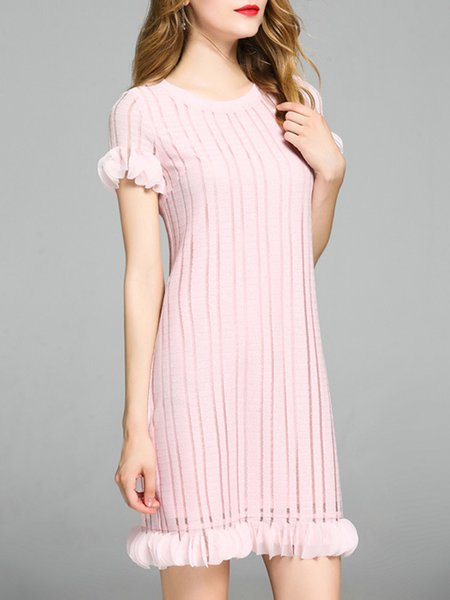 Knitted Paneled Appliqued Pink Short Sleeve H-line Polyester Midi Dress