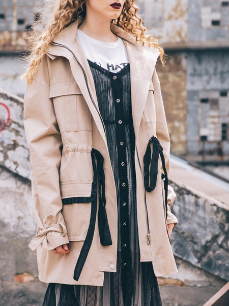 Apricot H-line Pockets Long Sleeve Coat