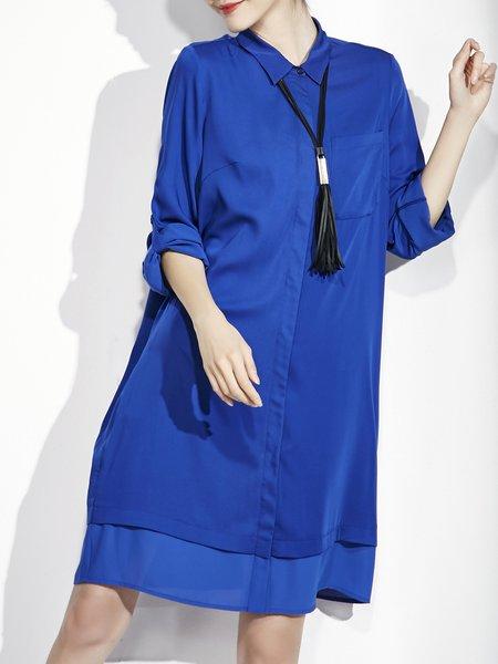Paneled Shirt Collar Half Sleeve Solid Midi Dress