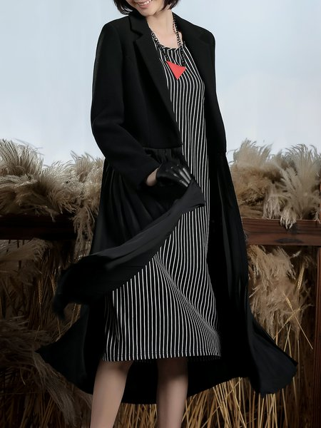 Solid Lapel Long Sleeve Casual Nylon Paneled Coat