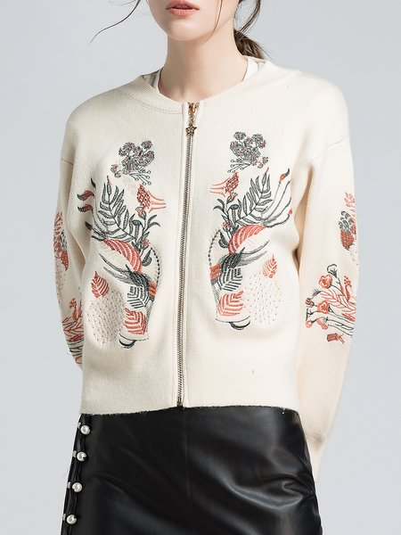 Casual Crew Neck Long Sleeve Embroidered Polyester Sweater