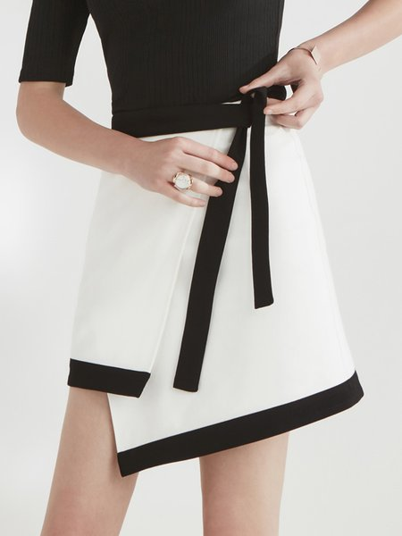 White-black Color-block Asymmetric Elegant A-line Polyester Midi Skirt With Belt