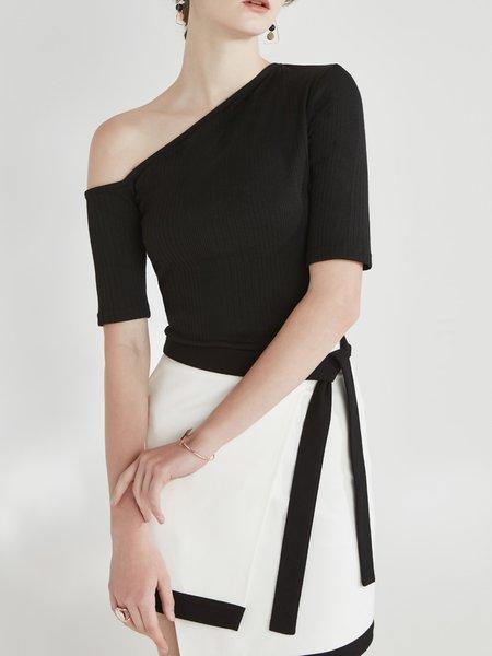 Elegant Single Sleeve Cold Shoulder Knitted T-Shirt