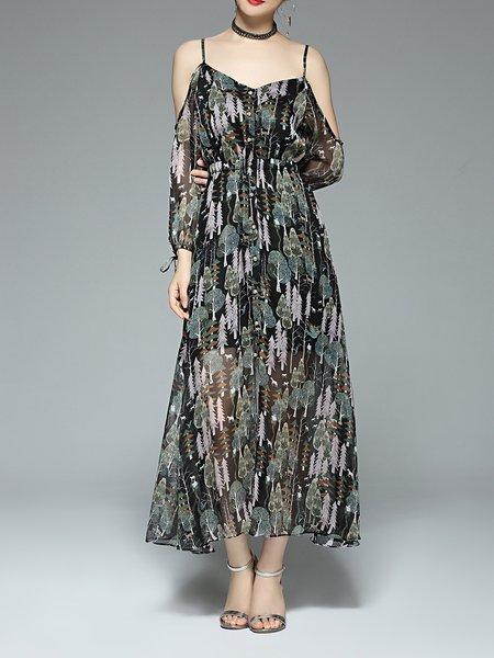 Multicolor Polyester A-line Casual Maxi Dress