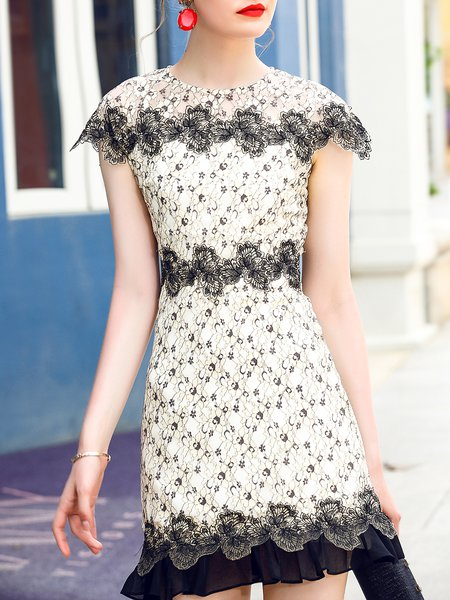 Guipure lace Paneled Casual Short Sleeve Crew Neck A-line Mini Dress