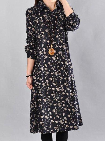 Navy Blue Long Sleeve Floral Printed Shirt Collar Linen Dress