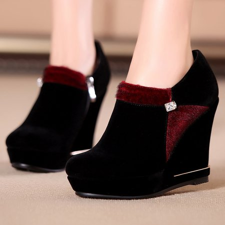 Suede Spring/Fall Panel Wedge Heel Boots