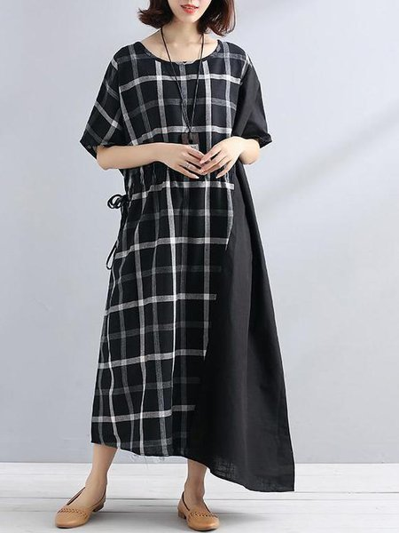 Casual Cotton-blend Short Sleeve Crew Neck Linen Dress