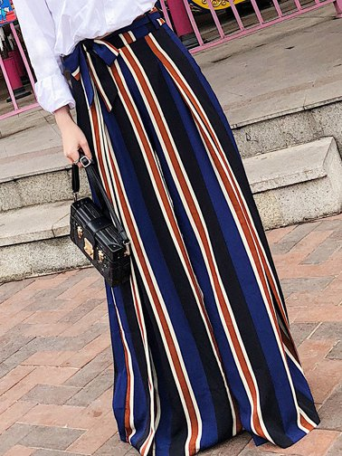 Navy Blue Casual Bow Wide Leg Pants