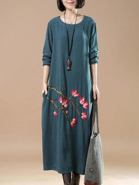 Blue A-line Long Sleeve Embroidered Linen Dress