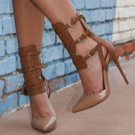 Brown PU Buckle Spring/Fall Stiletto Heel Boots
