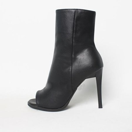 Black PU Stiletto Heel Casual Spring/Fall Boots
