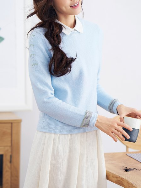 Knitted Simple Jacquard Crew Neck Long Sleeve Sweater