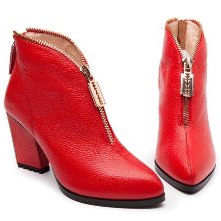 Red PU Spring/Fall Chunky Heel Casual Zipper Boots