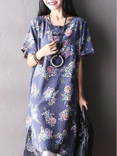 Blue Slit Cotton Casual Linen Dress