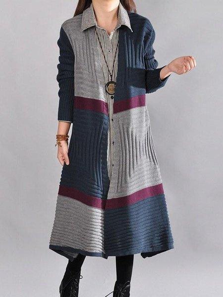 Gray Long Sleeve Color-block Cotton A-line Linen Knitwear